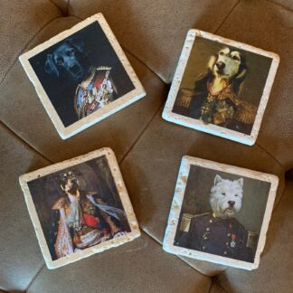 Stone Drink Coasters- Dogs In Uniform (Set of 4)