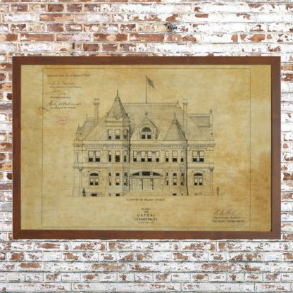 Distressed Lexington Courthouse Drawing (Framed)