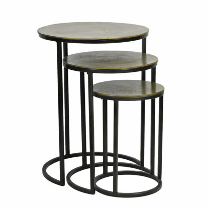 Metal Textured Nesting Tables (Set of 3)