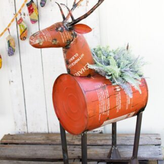 Red Recycled Metal Deer Planter/Cooler