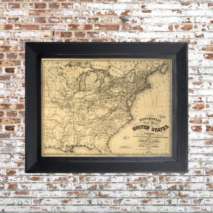 Distressed Southeast US Map Framed Print