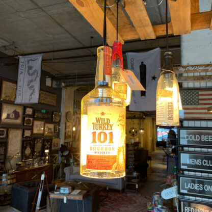 Recycled Wild Turkey 101 Bottle Pendant Light