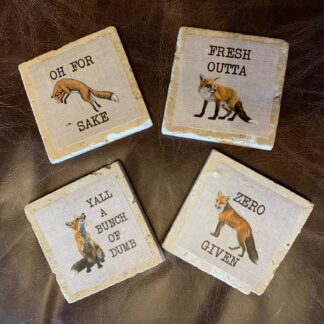 Stone Drink Coasters- Foxes (Set of 4)