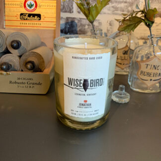 Recycled Wisebird Cider Bottle Candle