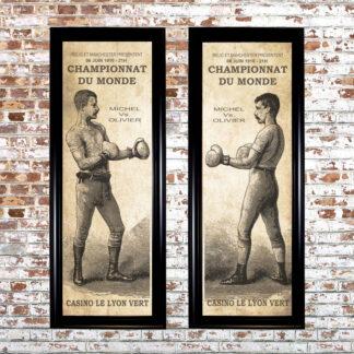 Distressed Boxers Framed Prints (Set of 2)
