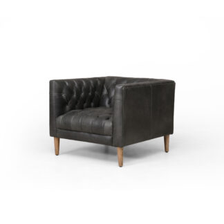Williams Tufted Leather Chair- Washed Ebony
