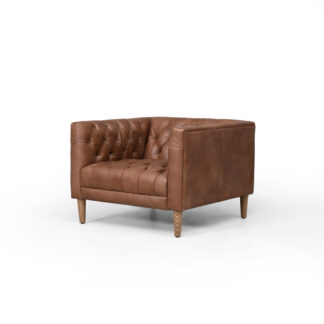 Williams Tufted Leather Chair- Washed Chocolate