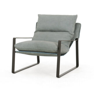 Emmett Leather Sling Chair- Palermo Sky