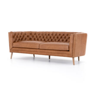 Belair Tufted Butterscotch Leather Sofa