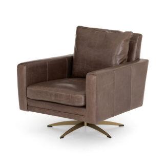 Lyndon Swivel Chair- Dakota Fossil Leather