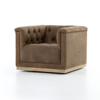 Maxx Leather Swivel Chair- Umber