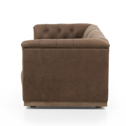 Maxx Umber Tufted Leather Sofa
