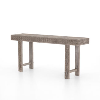 Balboa Carved Console Table- Aged Grey