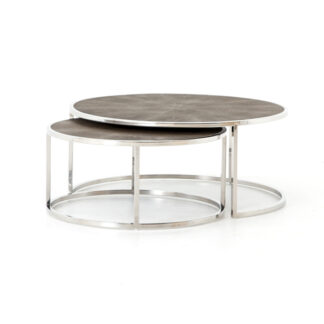 Shagreen Nesting Coffee Table- Stainless Steel