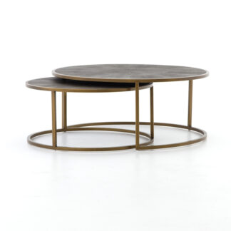 Shagreen Nesting Coffee Table- Antique Brass