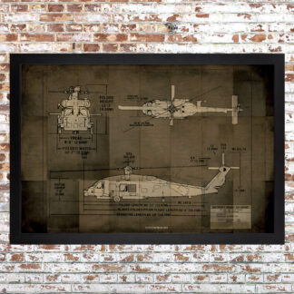 Helo Blueprint Framed Print Dark Large