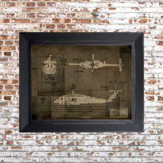 Helo Blueprint Framed Print Dark Small