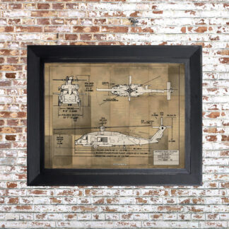Helo Blueprint Framed Print Light Small