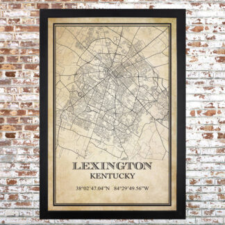 Distressed Lexington Map Print (Upgraded Frame)