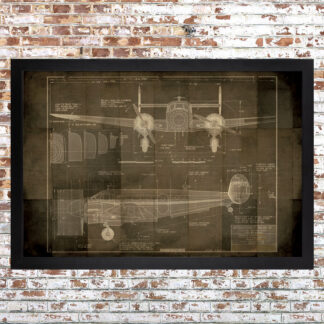 Plane Blueprint Framed Print Dark Large