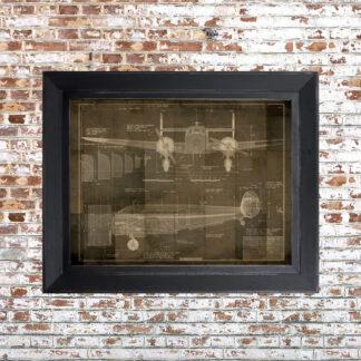Plane Blueprint Framed Print Dark Small