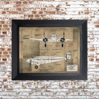Plane Blueprint Framed Print Light Small