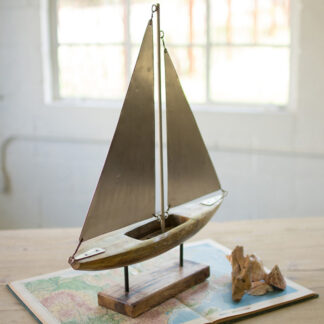 Wood and Iron Sailboat on Stand