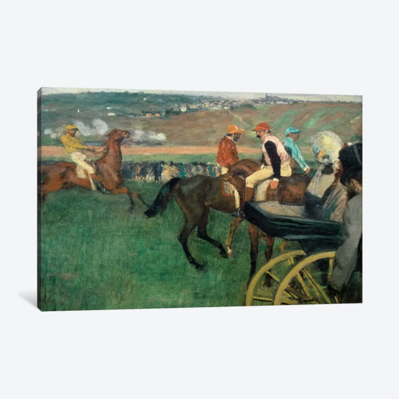 The Racetrack, Amateur Jockeys Near a Car, 1876- Framed Canvas Giclee