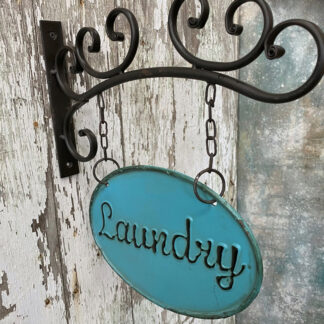 Metal Laundry Sign w Hanging Bar