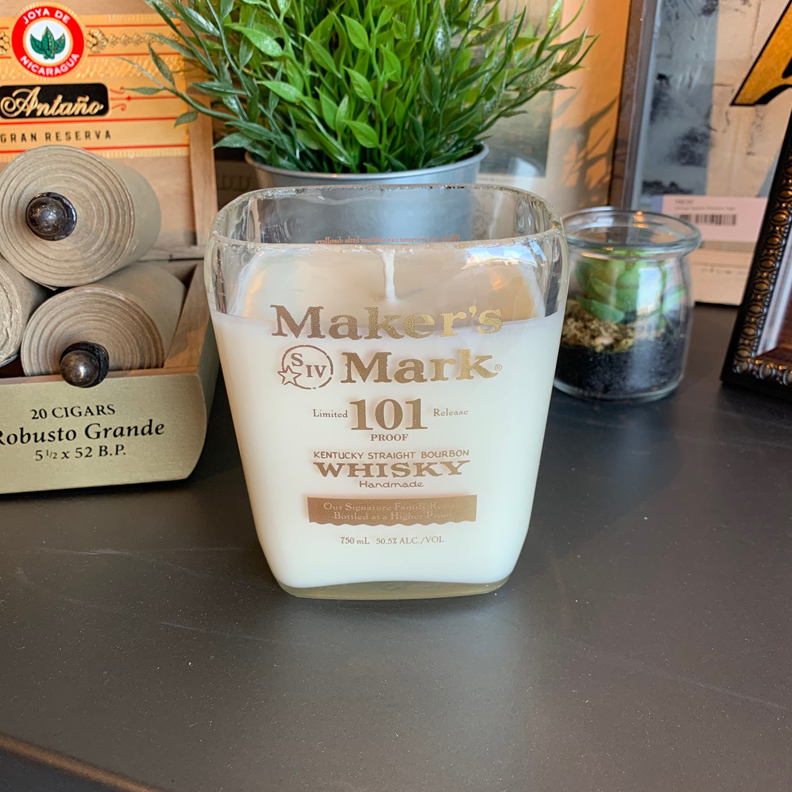 Recycled Maker's Mark 101 Bourbon Candle