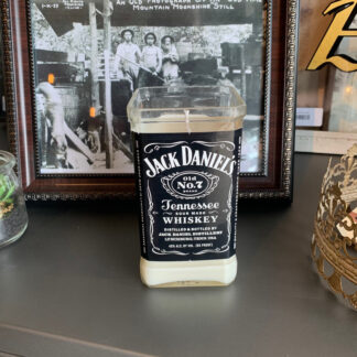 Recycled Jack Daniels Bottle Candle