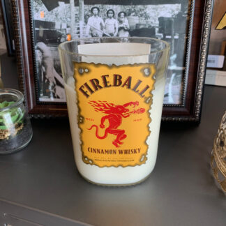 Recycled Fireball Whiskey Bottle Candle