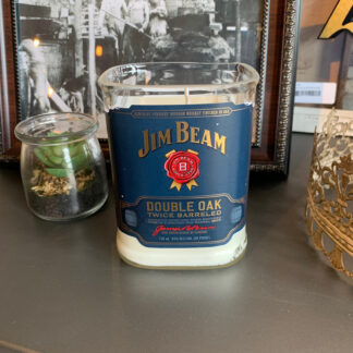 Recycled Jim Beam Double Oak Bottle Candle