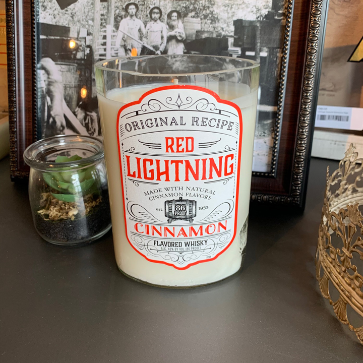 Recycled Red Lightning Bottle Candle