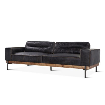 Portofino Leather Sofa Antique Ebony