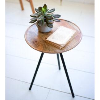Round Mango Wood Side Table