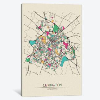 Lexington Map Framed Canvas Giclee