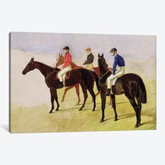Three Racehorses w Jockeys Up- Framed Canvas Giclee