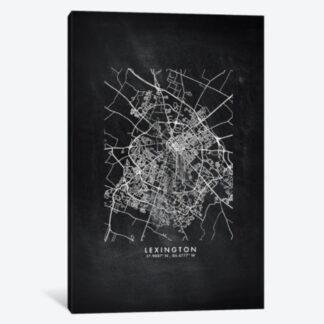 Lexington Chalkboard Map- Framed Canvas Giclee