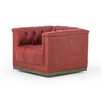 Maxx Leather Swivel Chair- Berry