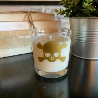 Skull and Bones Reusable Rocks Glass Candle