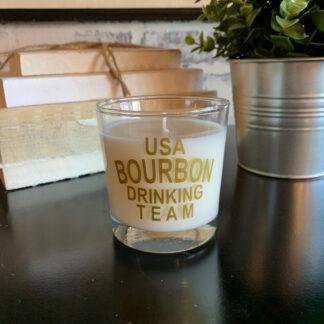 USA Bourbon Drinking Team Reusable Rocks Glass Candle