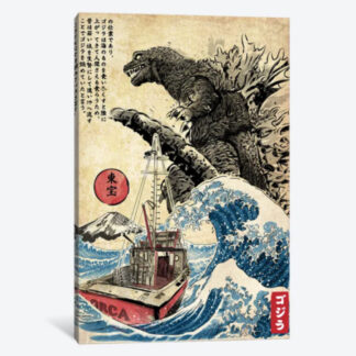 Orca In Japan Woodblock- Framed Canvas Giclee