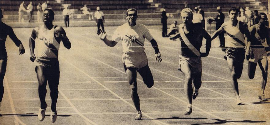 Shown here on left winning State 220 yard dash in 20.7 in 1967, that time still stands as the fastest Empire 200 ever at a converted 20.82. The time broke the National High School record that he had co-held at 20.9 with four others.