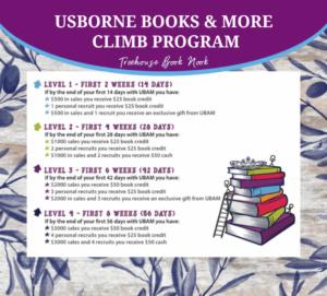 usborne books & more climb program, new consultant incentive
