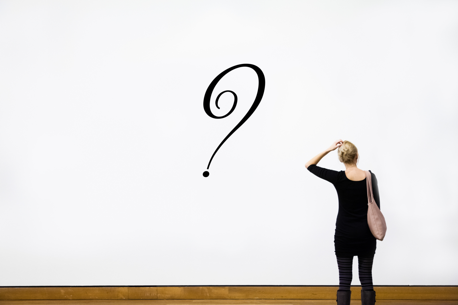 Woman wondering at a question