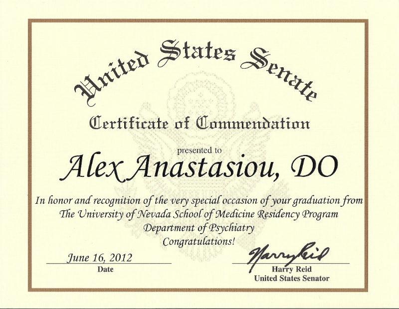 United States Senate Certificate of Commendation