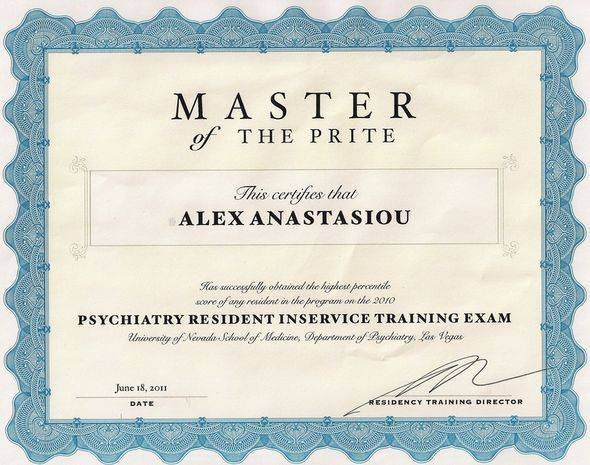 Psychiatry resident inservice training exam