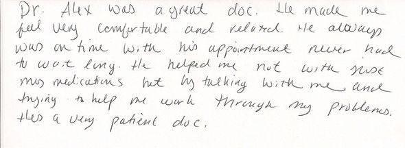 Patient Review of patient S.H.