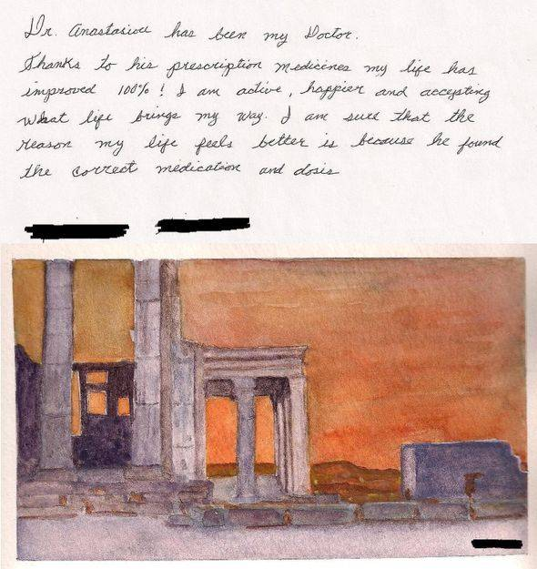 Patient Review of Patient M.K. (posted with a water painting she made as a token of appreciation)